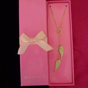 Victoria's Secret angel wings lariat necklace NIB